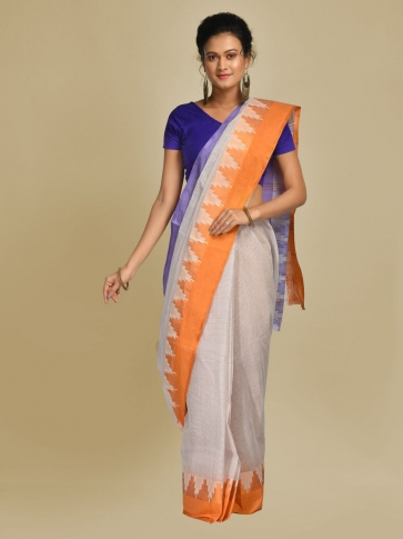 Off White Pure Cotton Hand woven Tangail Saree without blouse fabric.