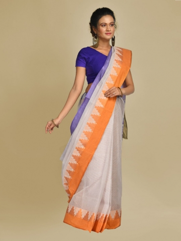 Off White Pure Cotton Hand woven Tangail Saree without blouse fabric. 0