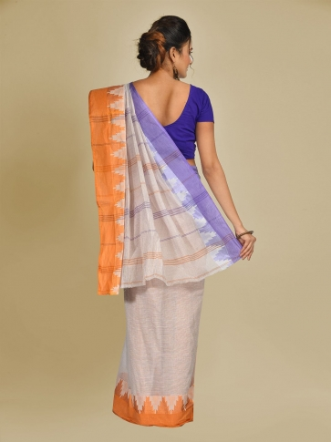 Off White Pure Cotton Hand woven Tangail Saree without blouse fabric. 1