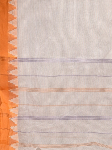 Off White Pure Cotton Hand woven Tangail Saree without blouse fabric. 2