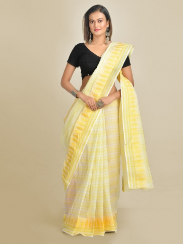 Off White and Yellow Pure Cotton Hand woven Tant Tangaile Saree