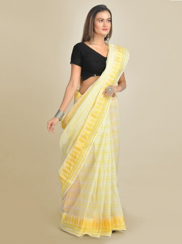 Off White and Yellow Pure Cotton Hand woven Tant Tangaile Saree 0