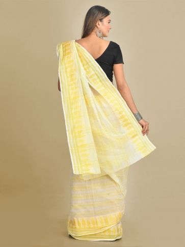 Off White and Yellow Pure Cotton Hand woven Tant Tangaile Saree 1