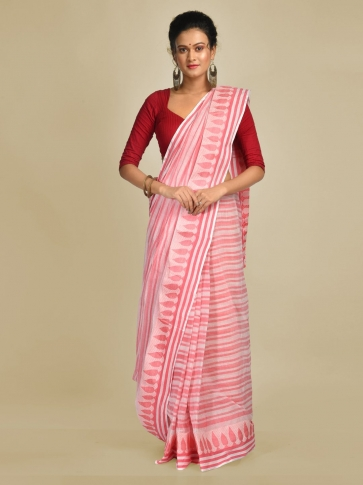 Pink and Pink Pure Cotton Hand woven Tangail Saree without blouse fabric.