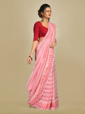 Pink and Pink Pure Cotton Hand woven Tangail Saree without blouse fabric. 0