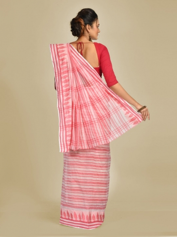 Pink and Pink Pure Cotton Hand woven Tangail Saree without blouse fabric. 1