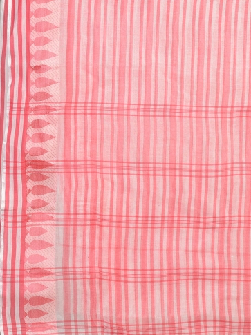 Pink and Pink Pure Cotton Hand woven Tangail Saree without blouse fabric. 2