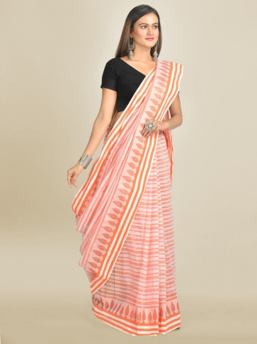Off White with Orange Pure Cotton Hand woven Tant Tangaile Saree 0