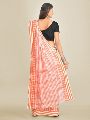 Off White with Orange Pure Cotton Hand woven Tant Tangaile Saree 1