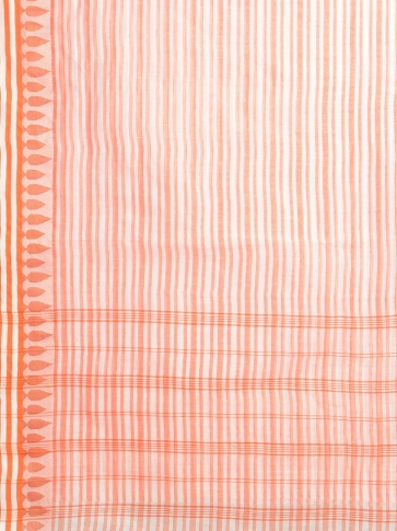 Off White with Orange Pure Cotton Hand woven Tant Tangaile Saree 2