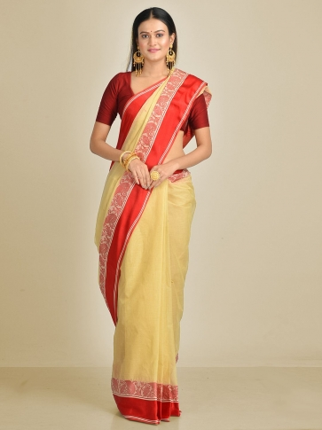 Beige with Red border Pure Cotton Hand woven Tant Tangaile Saree