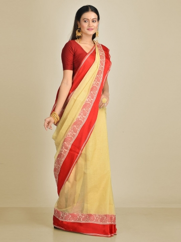 Beige with Red border Pure Cotton Hand woven Tant Tangaile Saree 0