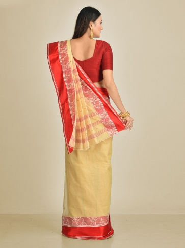 Beige with Red border Pure Cotton Hand woven Tant Tangaile Saree 1