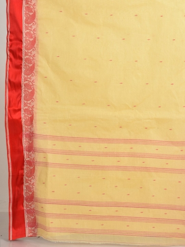 Beige with Red border Pure Cotton Hand woven Tant Tangaile Saree 2