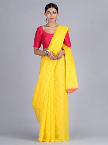 Yellow Handloom Jamdani Saree