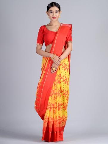Yellow & Red Handloom Jamdani Saree