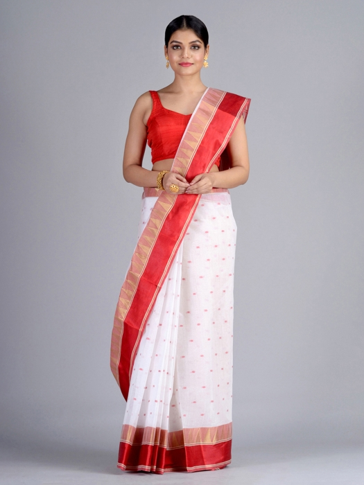 White Pure Cotton Tant Saree
