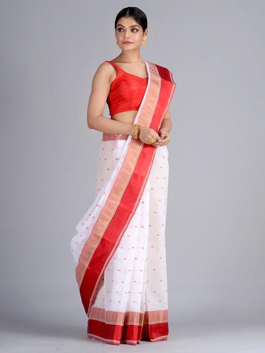 White Pure Cotton Tant Saree 0