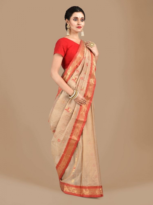 Beige with Red border Tusser Cotton fine quality Hand woven saree 0
