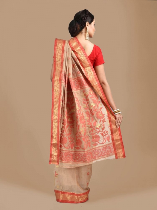 Beige with Red border Tusser Cotton fine quality Hand woven saree 1