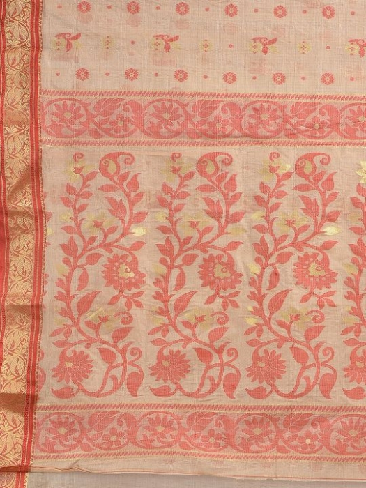 Beige with Red border Tusser Cotton fine quality Hand woven saree 2