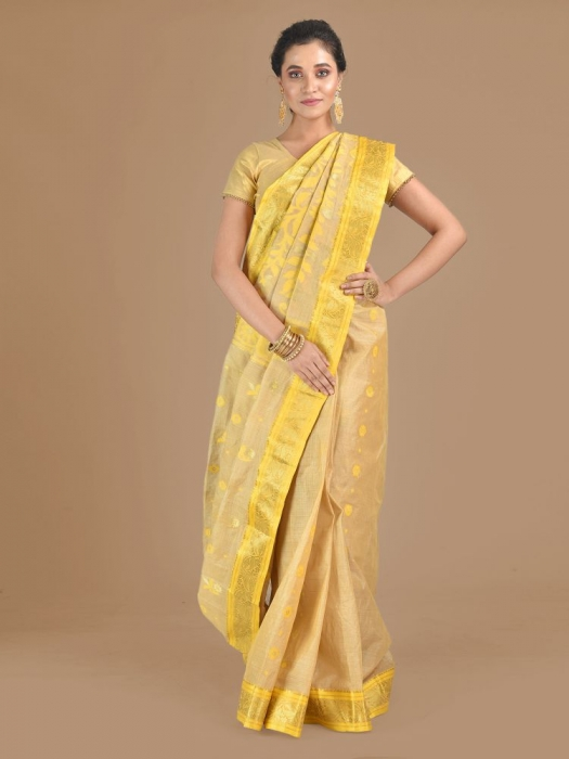 Beige with Yellow Tusser Cotton fine quality Hand woven saree