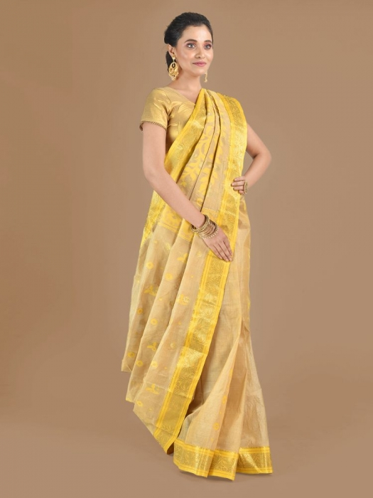 Beige with Yellow Tusser Cotton fine quality Hand woven saree 0