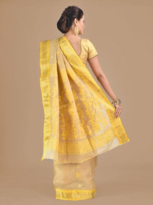 Beige with Yellow Tusser Cotton fine quality Hand woven saree 1