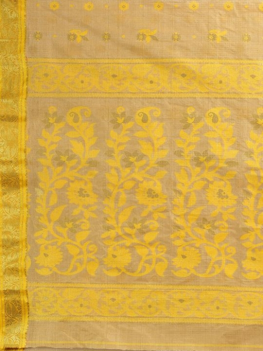 Beige with Yellow Tusser Cotton fine quality Hand woven saree 2