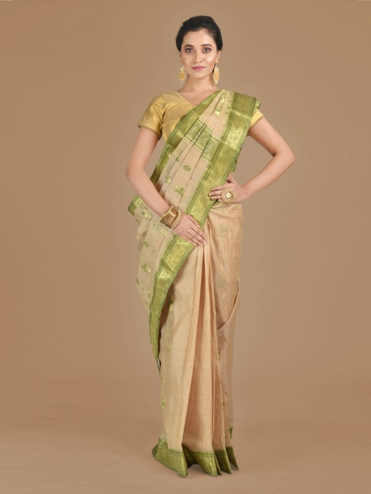 Beige with Green Tusser Cotton fine quality Hand woven saree
