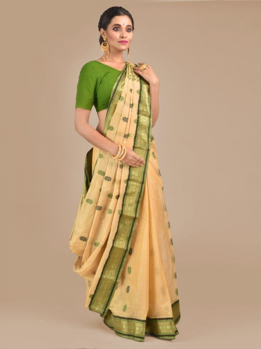 Beige with Green Tusser Cotton fine quality Hand woven saree 0