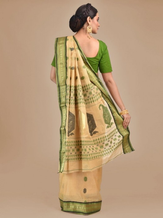 Beige with Green Tusser Cotton fine quality Hand woven saree 1