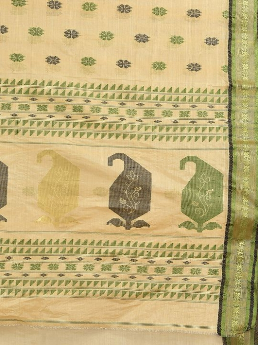 Beige with Green Tusser Cotton fine quality Hand woven saree 2