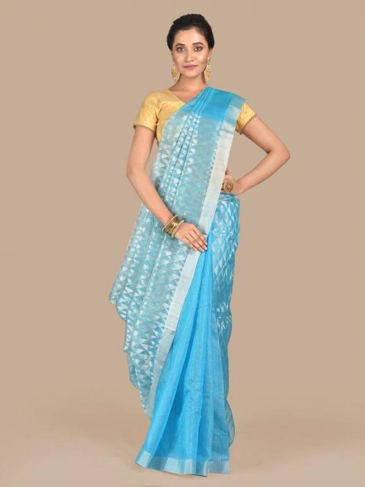 Sea Green Hand woven Matka Silk saree