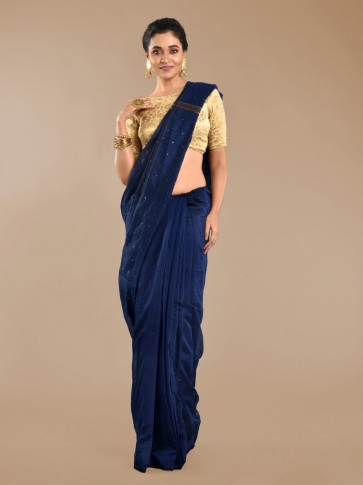 Navy Blue Blended Cotton Hand woven Saree with sequin work