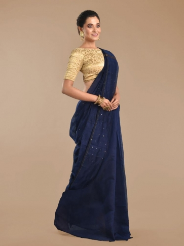 Navy Blue Blended Cotton Hand woven Saree with sequin work 0