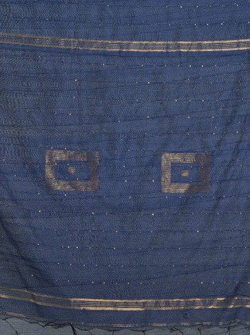 Navy Blue Blended Cotton Hand woven Saree with sequin work 2
