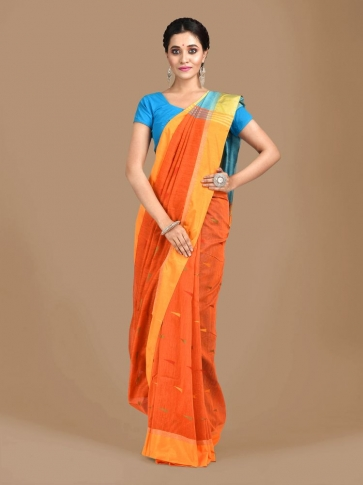 Orange Blended Cotton Hand woven Saree with Blue pallu