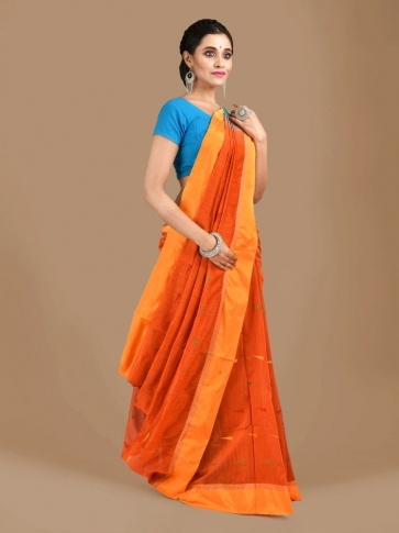 Orange Blended Cotton Hand woven Saree with Blue pallu 1