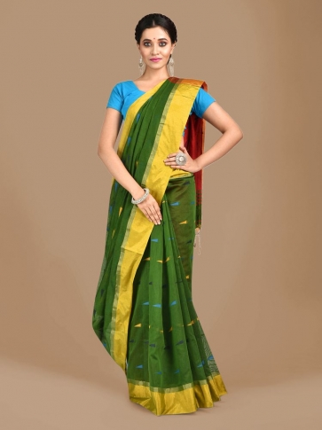 Bottol Green Blended Cotton Hand woven Saree with Red pallu