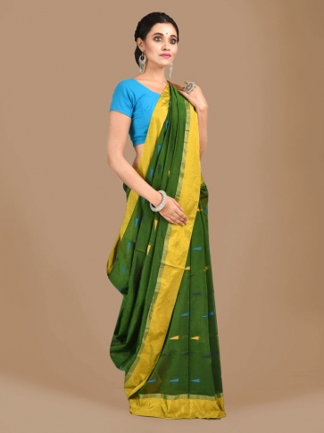 Bottol Green Blended Cotton Hand woven Saree with Red pallu 0