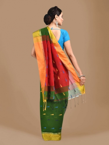 Bottol Green Blended Cotton Hand woven Saree with Red pallu 1