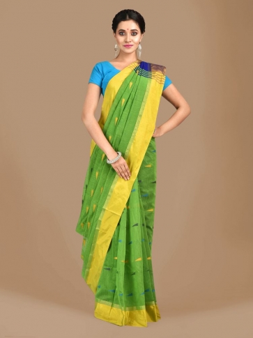Light Green Blended Cotton Hand woven Saree with Blue pallu