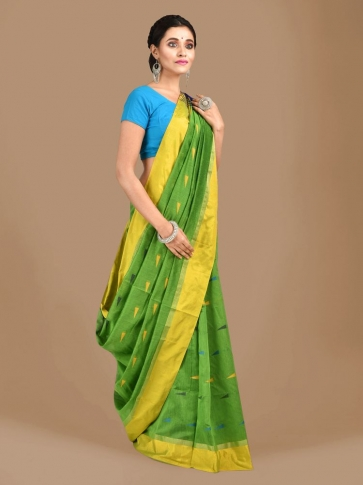 Light Green Blended Cotton Hand woven Saree with Blue pallu 0