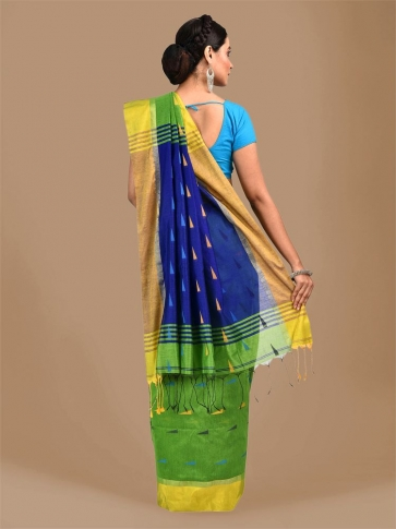 Light Green Blended Cotton Hand woven Saree with Blue pallu 1