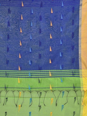 Light Green Blended Cotton Hand woven Saree with Blue pallu 2