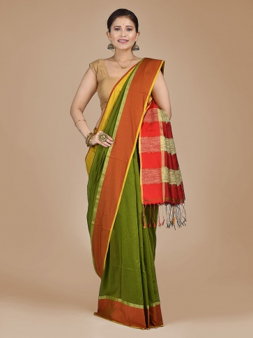 Green Blended Cotton Hand woven saree with Ghicha pallu