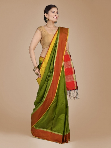 Green Blended Cotton Hand woven saree with Ghicha pallu 0