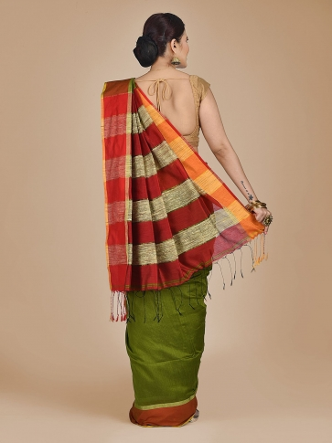 Green Blended Cotton Hand woven saree with Ghicha pallu 1