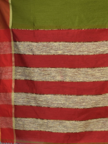 Green Blended Cotton Hand woven saree with Ghicha pallu 2